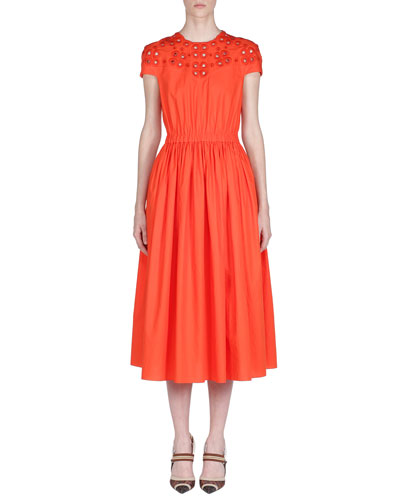 Cap-Sleeve Eyelet-Embroidered Cotton Midi Dress