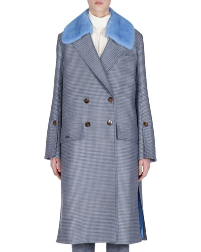 5434a207ca74 Check Double-Breasted Wool Coat w  Removable Mink Collar
