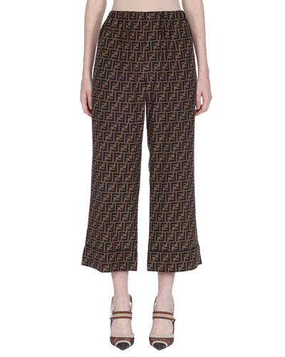 Logo-Print Cropped Pajama Pants