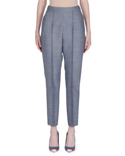 Check Wool Cropped Pants