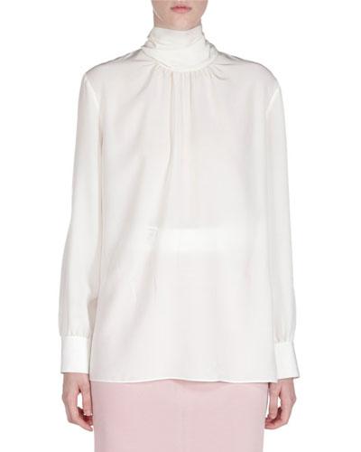 Long-Sleeve Scarf-Neck Silk Blouse