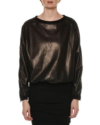 Zip-Sleeve Leather Sweatshirt