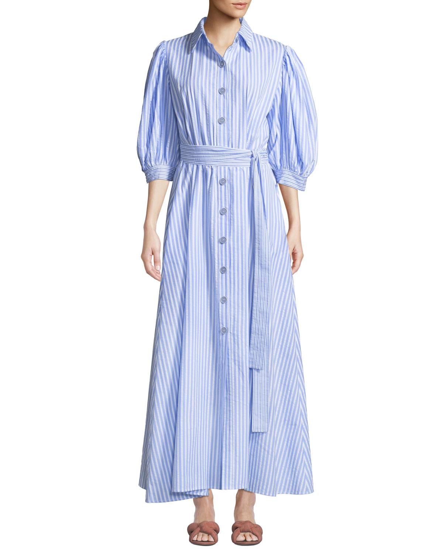 EVI GRINTELA Valerie Puff-Sleeve Cotton Shirtdress in Sky