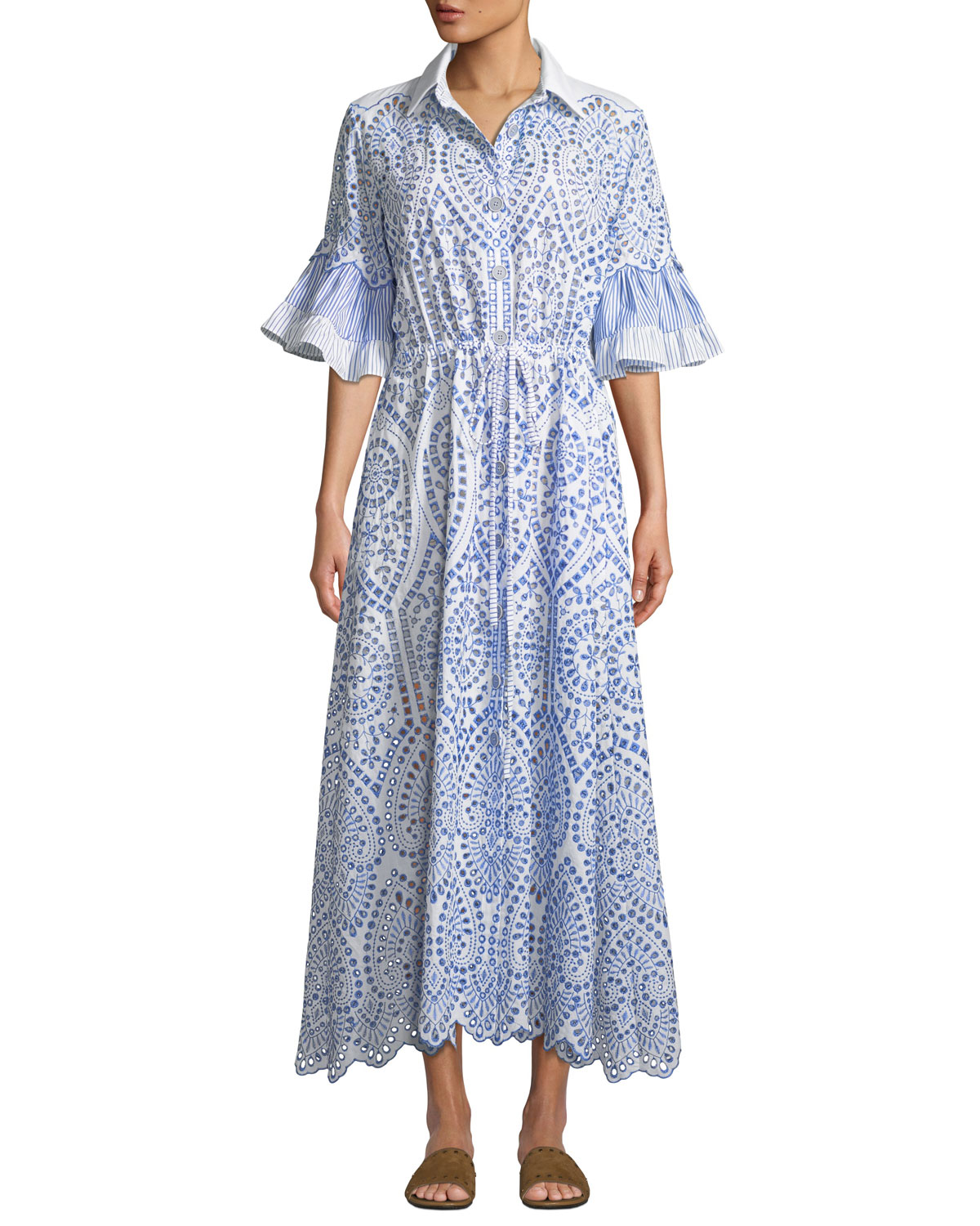 EVI GRINTELA Valerie Cotton Lace Shirtdress in Blue/White