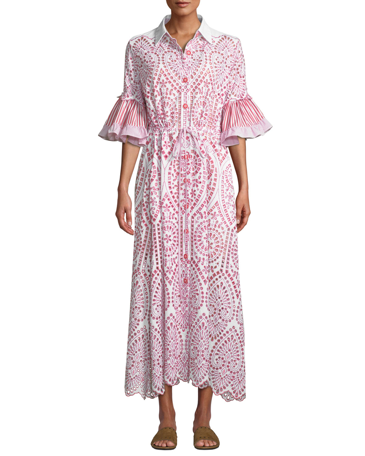 EVI GRINTELA Valerie Cotton Lace Shirtdress in Red/White