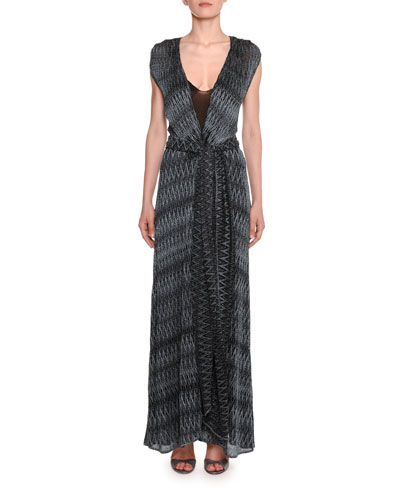 Zigzag Maxi Wrap Dress