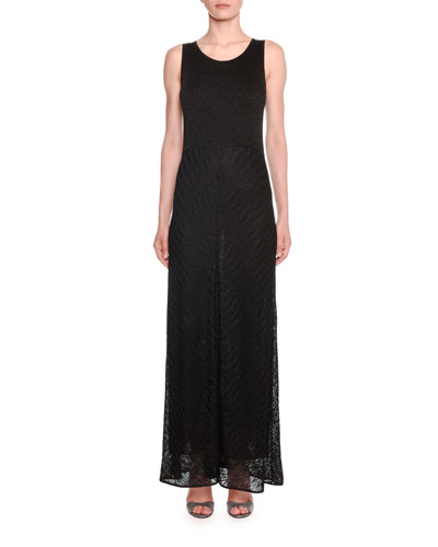 Sleeveless Shimmer Zigzag Knit Maxi Dress