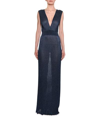 Shimmer V-Neck Pleated Long Dress