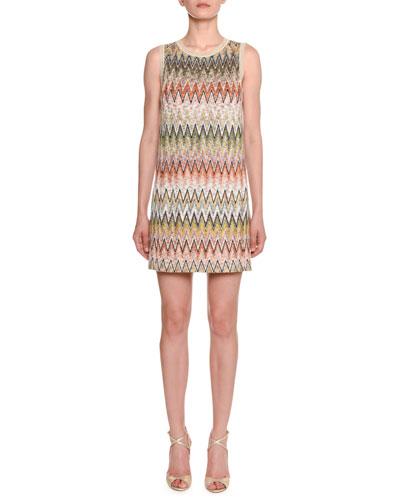 Sleeveless Multicolored Zigzag Shift Dress