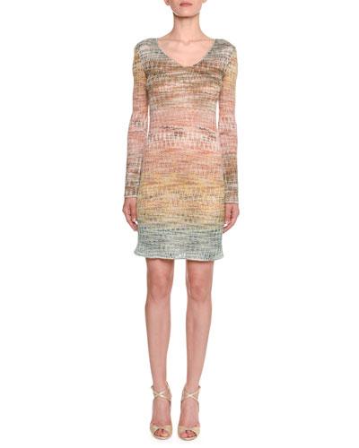Long-Sleeve Metallic Zigzag Tunic Dress