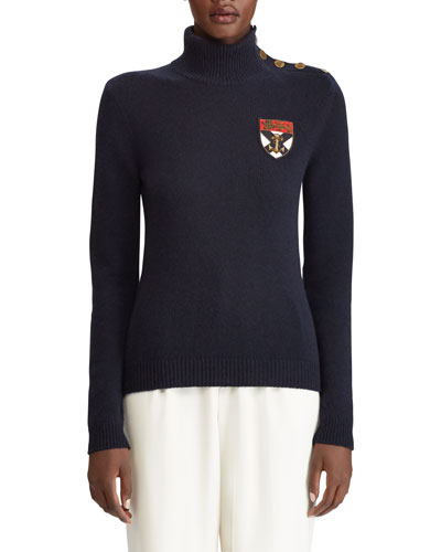 Cashmere Button-Shoulder Military Patchwork Sweater