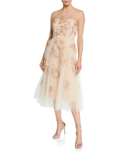 Leaf-Embroidered Tulle Illusion Dress