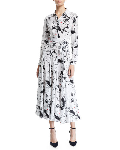Long-Sleeve Illustration-Print Georgette Shirtdress