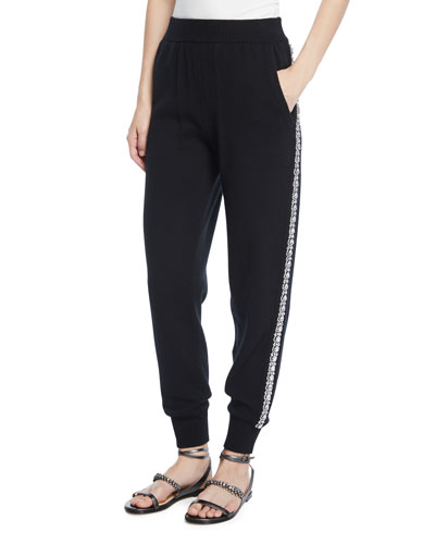 Cashmere Crystal-Striped Joggers