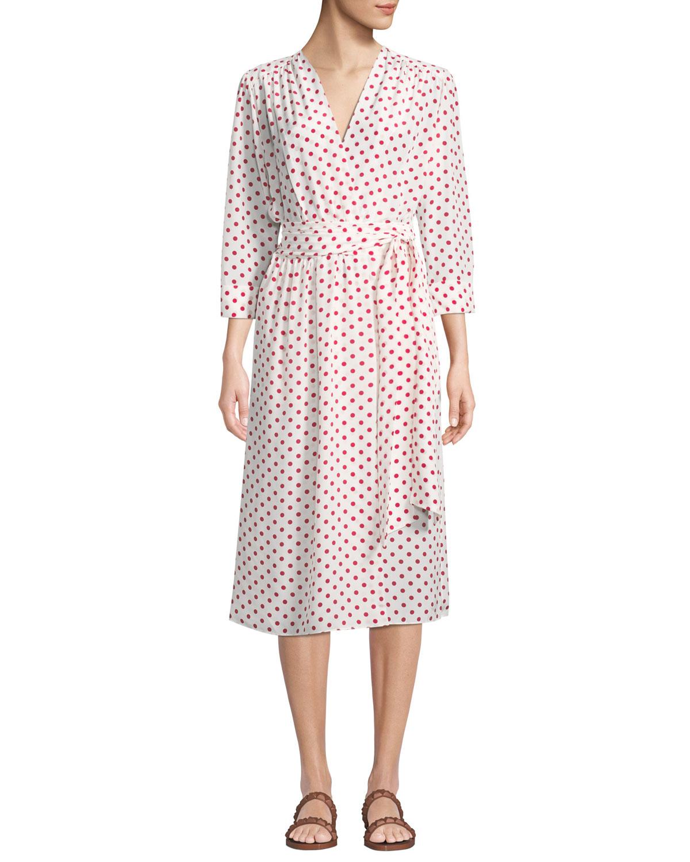 EVI GRINTELA Bianca Polka-Dot Silk Wrapped Midi Dress in White/Red