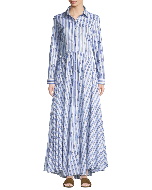 EVI GRINTELA Juliette Striped-Cotton Maxi Shirtdress in Blue/White