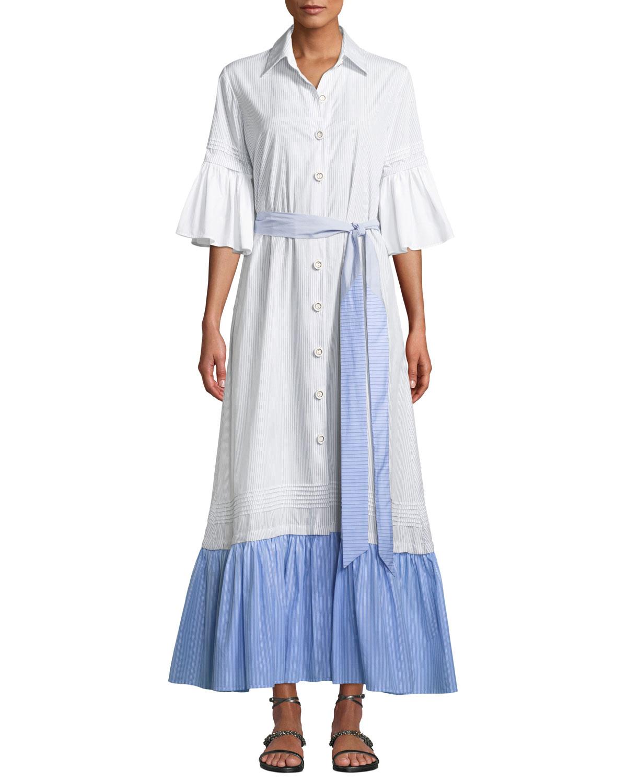 EVI GRINTELA Valerie Ruffles Cotton Shirtdress in White