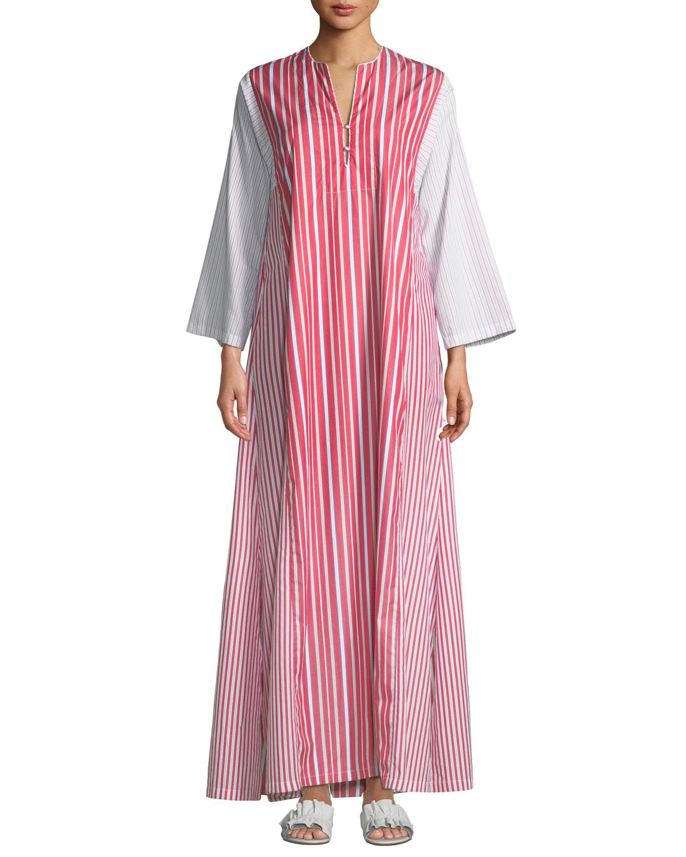 EVI GRINTELA Novella Striped Poplin Maxi Dress in Red Pattern