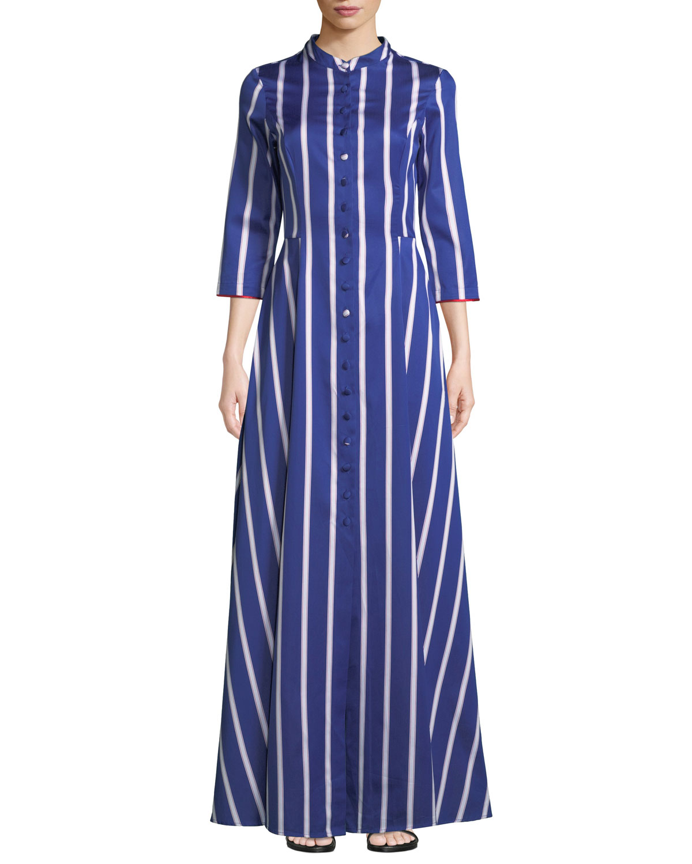 EVI GRINTELA Carine Long Striped Shirtdress in Blue/White