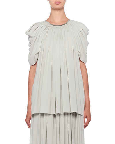 Taya Pleated Ruched Short-Sleeve Top