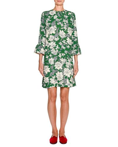 247 Flare-Sleeve Satin Dress