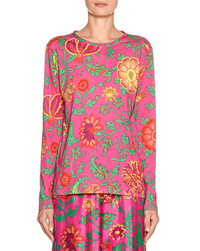 Going To Yoga Floral Long-Sleeve Tee