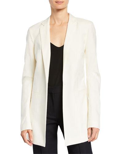Silk One-Button Longline Blazer
