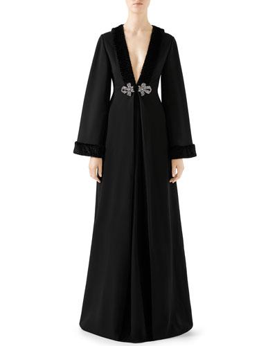 Long-Sleeve Faux-Fur Trim Jersey Gown