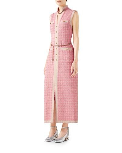 Sleeveless Long Tweed Dress with Chain Belt