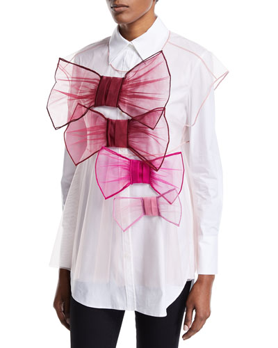Tulle Bow-Front Vest, Pink