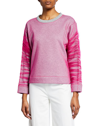 Cotton Sweater with Tulle Overlay