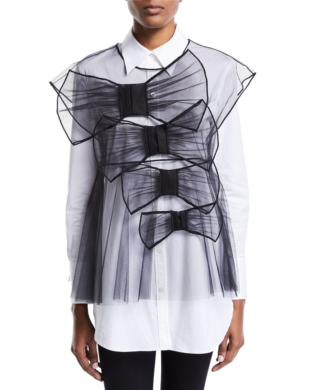 Viktor & Rolf Tulle Bow-Front Vest, Black, BLACK