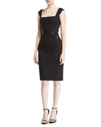 Square-Neck Bonded Crepe Dress