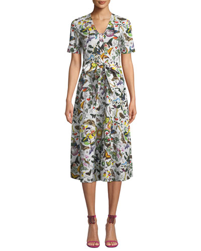 Jayjay 1/2-Sleeve Tie-Waist Butterfly Poplin Midi Dress