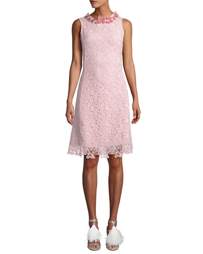 Long-Sleeve Butterfly Lace Cocktail Dress