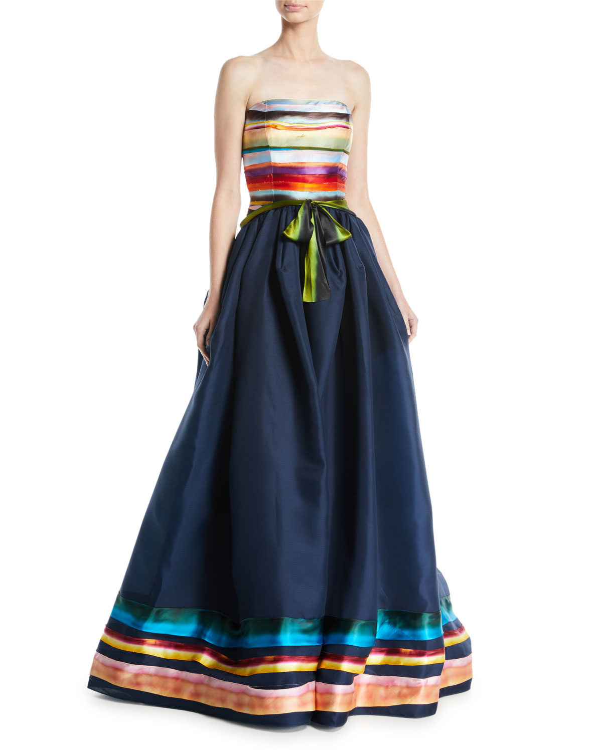 Rosie Assoulin MIDNIGHT RAINBOW STRAPLESS GOWN