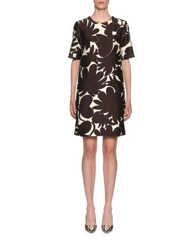 Short-Sleeve Printed Shift Dress