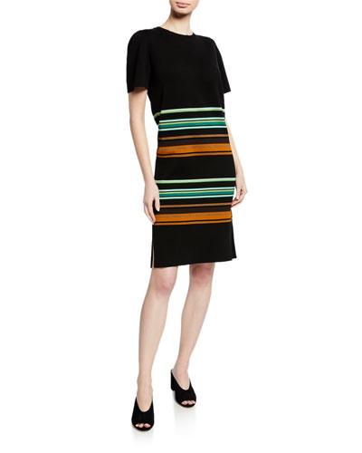 Short-Sleeve Striped Dress
