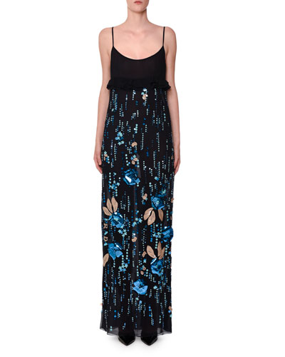 Sleeveless Floral-Embroidered Maxi Dress