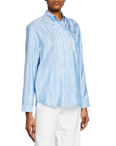 Logo-Striped Silk Button-Down Blouse