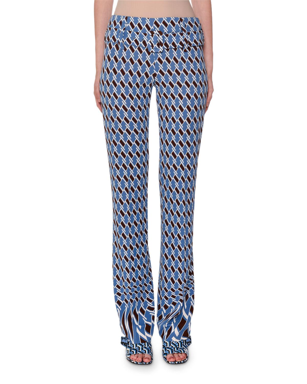 Organzino Argyle Print Belted Pants in Blue Pattern