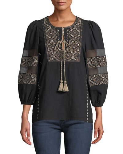 Joni 3/4-Sleeve Embroidered Peasant Blouse