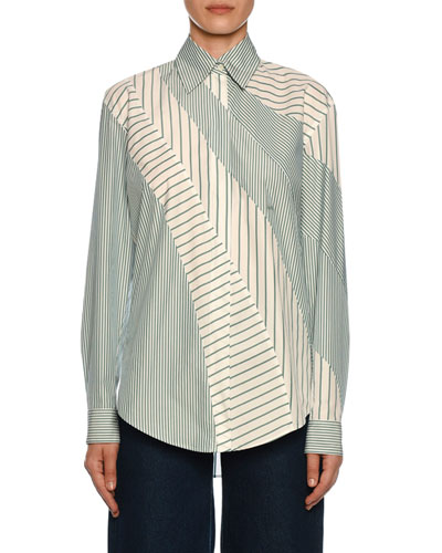 Mixed-Stripe Button-Front Shirt