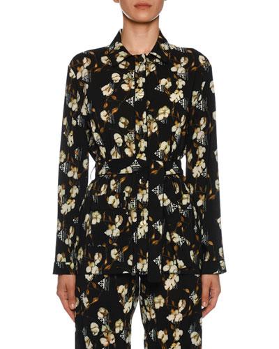 Floral-Print Button Front Pajama Shirt