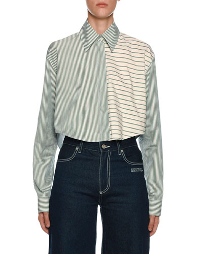Mixed-Stripe Button-Front Crop Shirt