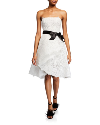 Chantilly Lace & Tulle Cocktail Dress w/ Satin Belt