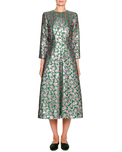 Little Miss Floral Jacquard 3/4-Sleeve Midi Dress