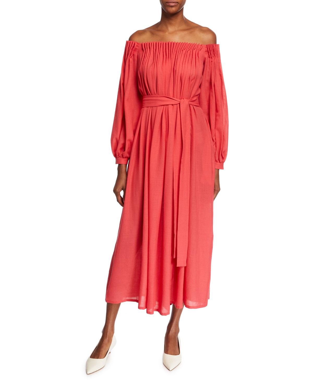 Gabriela Hearst Dresses OTALORA OFF-THE-SHOULDER LONG-SLEEVE WOOL/CASHMERE GAUZE DRESS