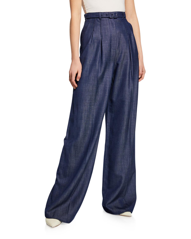 Gabriela Hearst Pants VARGAS WIDE-LEG PLEATED FRONT HIGH-RISE PANTS