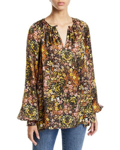 Floral Silk Raglan-Sleeve Tunic